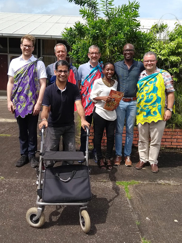 The Brussels delegation in front of the Urban House Suriname