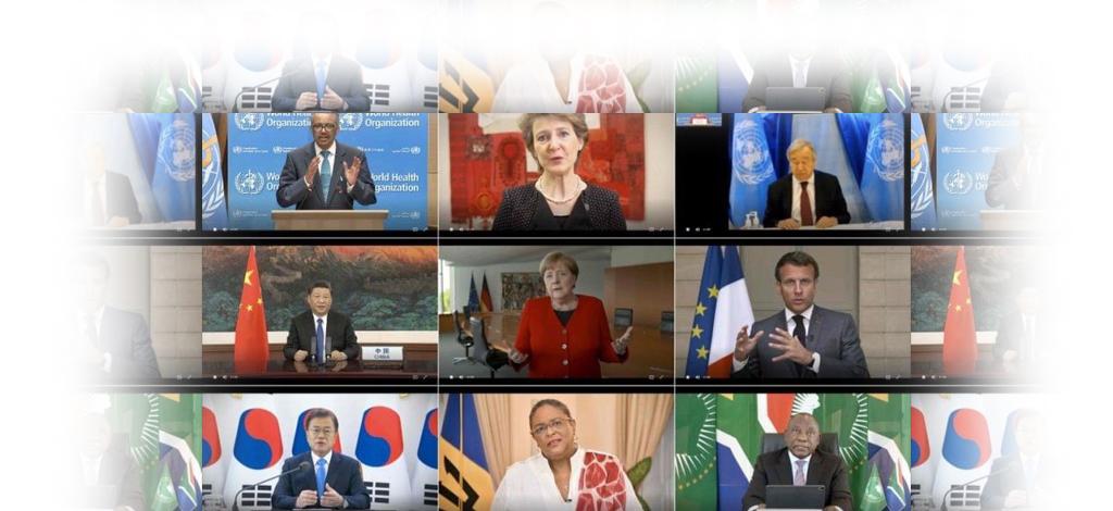 Écran d'ordinateur avec mosaïque de photos des participants