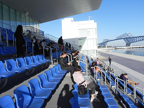 View of the stands along the water.