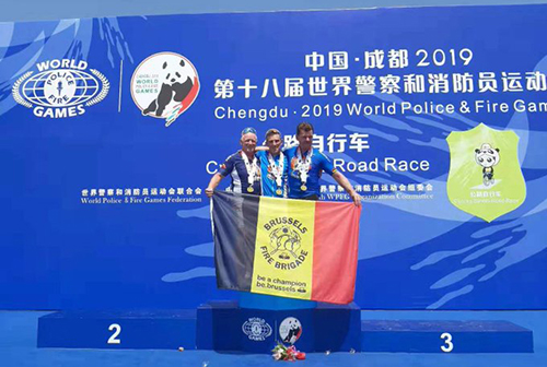 Three Brussels firefighters on the podium at the WPFG.