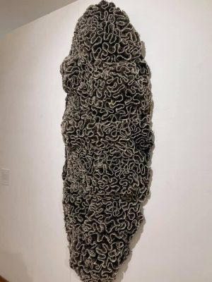 A work in the exhibition, abstract sculpture