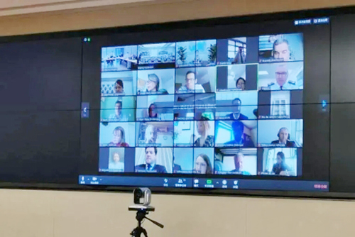 Computerscherm met mozaïek van foto's van de deelnemers aan een videoconferentie