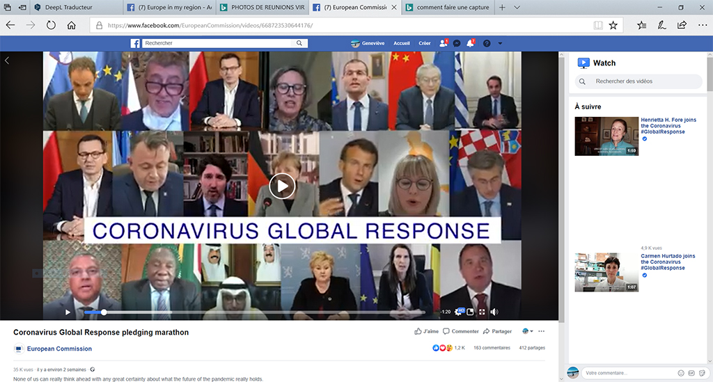 Computerscherm met mozaïek van foto's van de deelnemers
