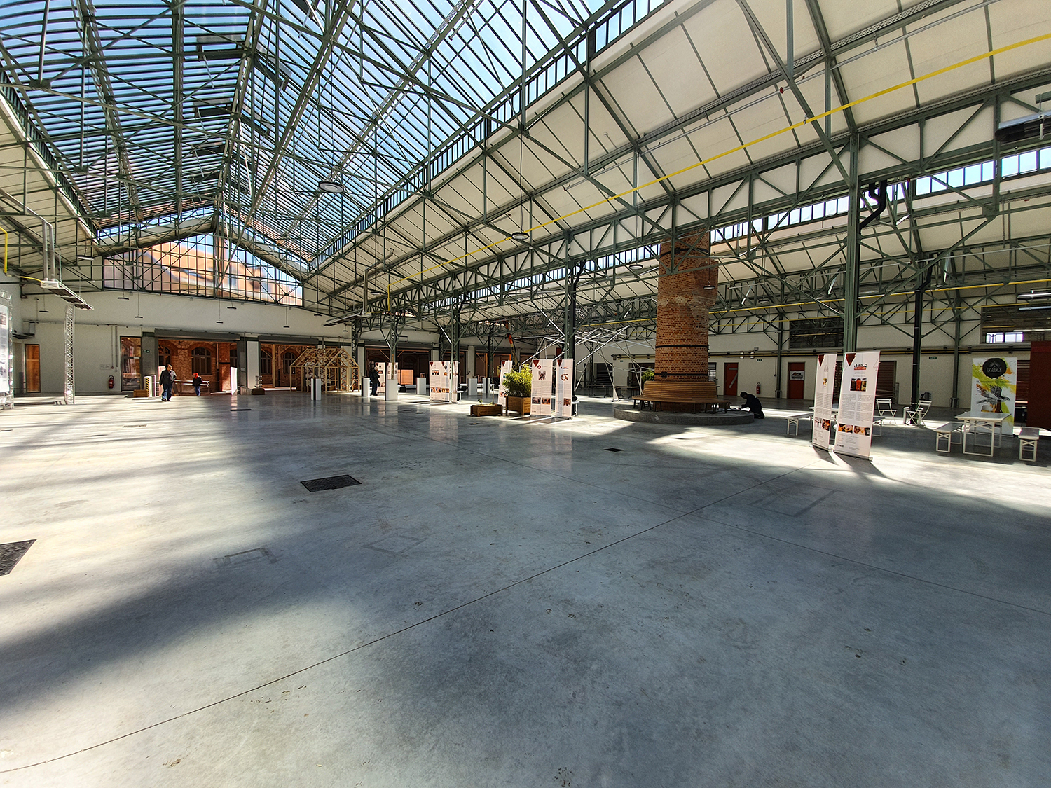 Interior with a glass roof and steel structure