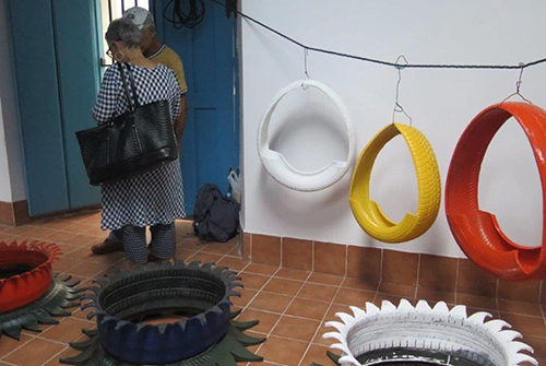 Work made using tyres in various colours.