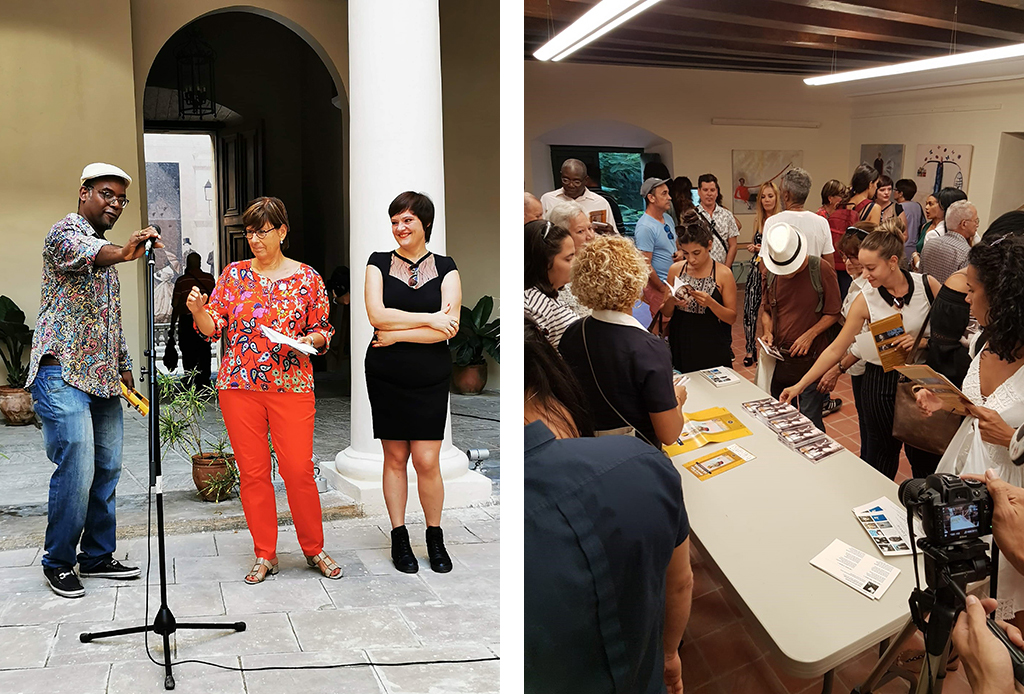 Photo 1 : Participants standing around a display table. – Photo 2 : Jehanne Roccas, standing facing a microphone, flanked by two people.