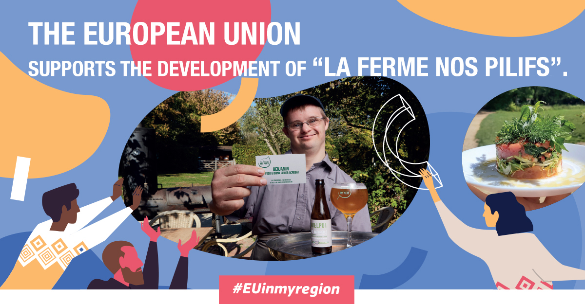 Poster of the #EUinmyregion campaign at Nos Pilifs Farm