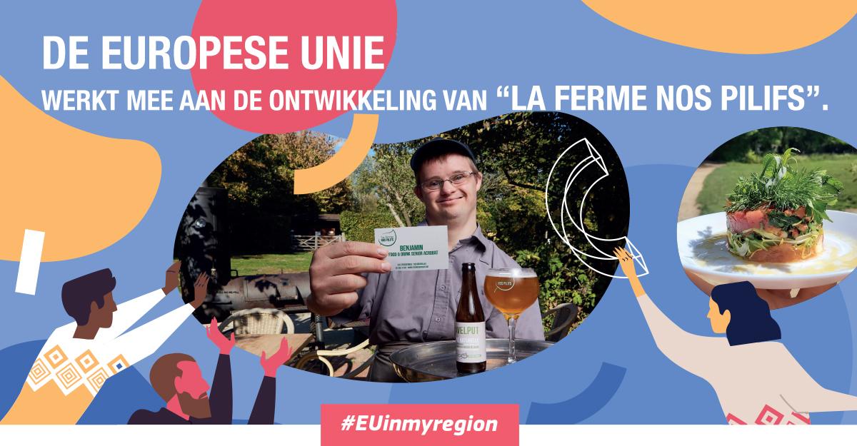 Affiche van de #EUinmyregion-actie in de Nos Pilifs-boerderij