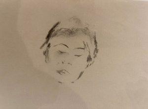 Œuvre de l'exposition, portrait en noir et blanc