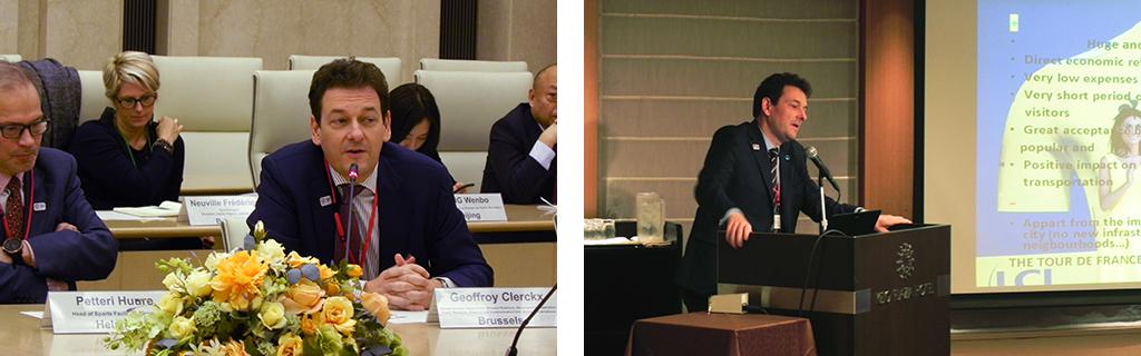 deux photos de Geoffroy Clerckx, prenant la parole.