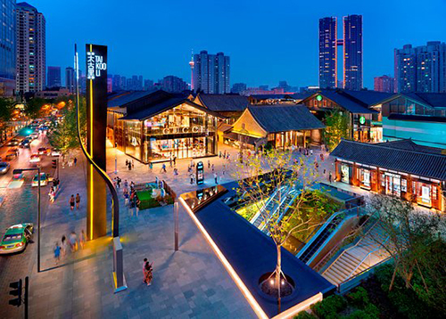 Le quartier de Tai Koo Li vu d'en haut, le soir.