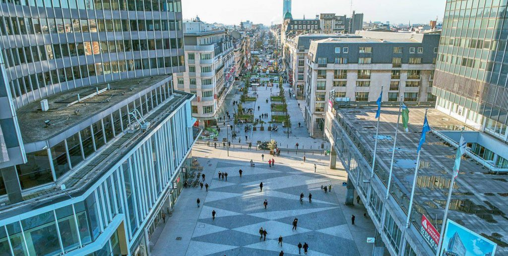 Aerial view of the pedestrian zone in Brussels