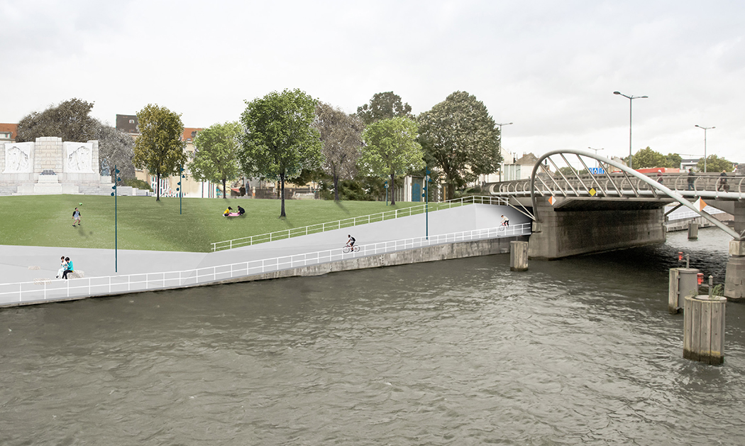 Canal view, including the design for the walkway, the bridge and square Jules De Trooz