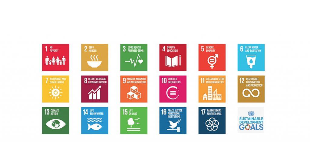 Logos en couleurs des 17 Objectifs de développement durable (ODD) des Nations unies