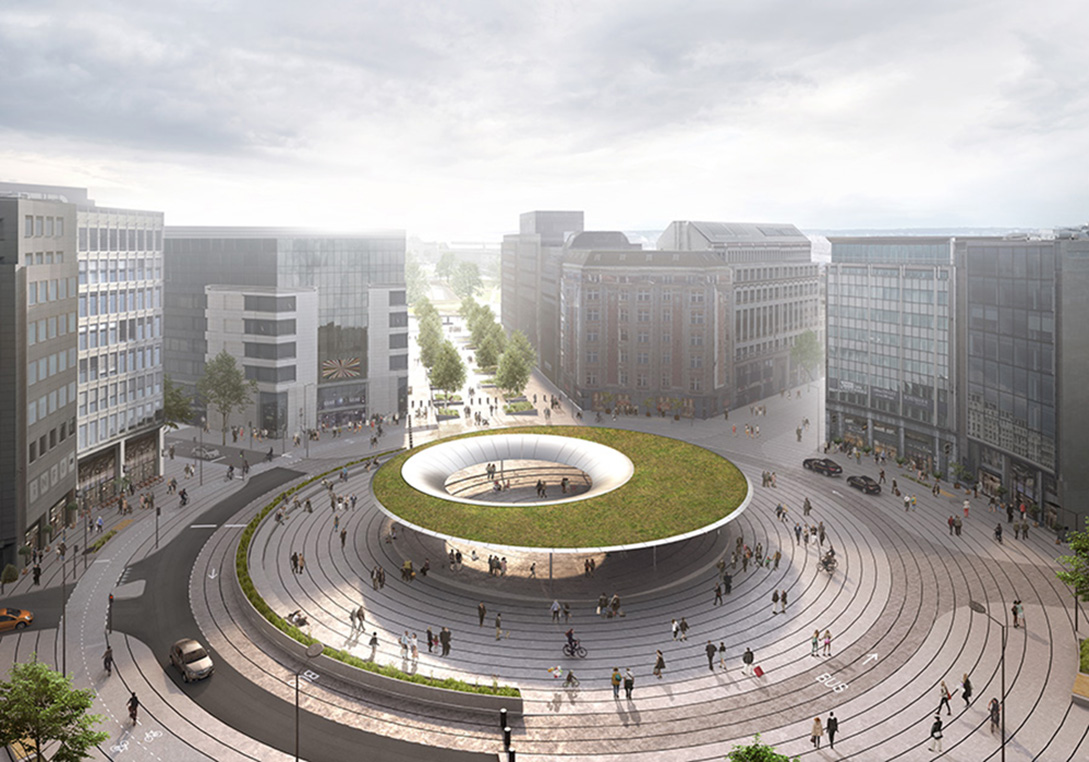 3D scale model (aerial view) of the redesigned Schuman roundabout
